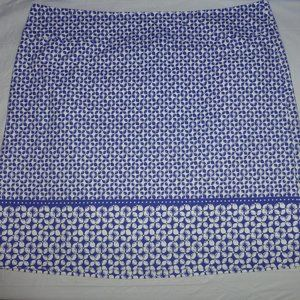 Talbots White and Blue Geometric Pencil Skirt 16